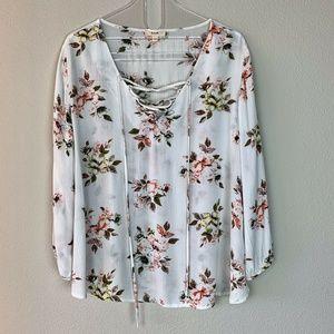 Anthropologie E&M White Floral print blouse Size L